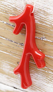 Red Coral Acrylic Coral Branch Pendant 41x70mm