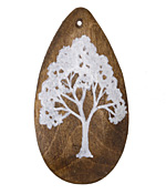 Summer Wind Art White Tree Wood Pendant 29x54mm
