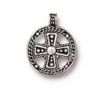 TierraCast Antique Silver (plated) Beaded Cross Pendant 24x30mm