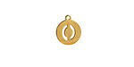 """Gold (plated) Stainless Steel Initial Coin Charm """"O"""" 10x12mm"""