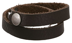 "The Lipstick Ranch Dark Chocolate Leather Cuff Double Wrap Bracelet 1/2"" x 16 1/4"""