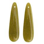 Olive Jade Thin Teardrop Pendant Pair 12x45mm