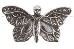 Green Girl Pewter Magical Butterfly Pendant 51-52x27-28mm