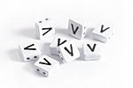 "White Enamel 2-Hole Tile Square Bead w/ Letter ""V"" 8mm"