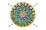 Czech Glass Peridot Rainbow Lace Button 27mm