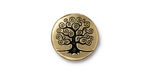 TierraCast Antique Gold (plated) Tree of Life Button 15mm