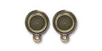 TierraCast Antique Brass (plated) Stepped Bezel Ear Post 12x17mm