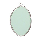 Seafoam Opalite (glass) Freeform Thin Slice w/ Silver Finish Bezel Frame Pendant 25x35mm