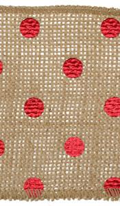 "Metallic Red Polka Dot 3.75"" Burlap Wire Ribbon"