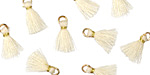 Ivory w/ Gold Binding & Jump Ring Tiny Thread Tassel 12mm