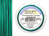 Artistic Wire Silver Plated Christmas Green 20 gauge, 25 feet