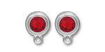 TierraCast Rhodium (plated) Stepped Bezel Ear Post w/ Light Siam Ruby Crystal 12x17mm