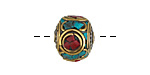 Tibetan Brass & White Brass Rondelle w/ Turquoise & Coral Mosaic 15x17mm
