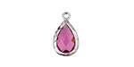 Cranberry Faceted Crystal in Silver (plated) Textured Bezel Teardrop 10x17mm