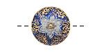 Czech Glass Cobalt w/ Gold Starflower Button 18mm