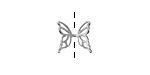 Amoracast Sterling Silver Butterfly Wing Cap 11x11mm