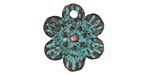 Greek Copper (plated) Patina Flower Charm 21x22mm