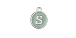 """Sweet Mint Enamel Silver Finish Initial Coin Charm """"S"""" 12x14m"""