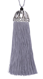Zola Elements Pewter Thread Tassel w/ Antique Silver (plated) Lotus Tassel Cap 20x75mm