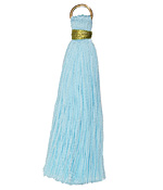 Aquamarine w/ Gold Binding & Jump Ring Thread Tassel 50mm