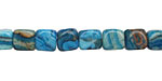 Larimar Blue Crazy Lace Round Edge Cube 7mm