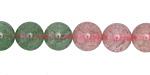 Strawberry Quartz w/ Green Quartz Round 10mm