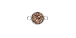 Metallic Bronze Crystal Druzy Coin Link in Silver Finish Bezel 14x9mm