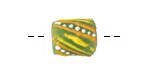 African Handpainted in Yellow/Saffron/White on Lime Green Powder Glass (Krobo) Bead 13-16x12mm