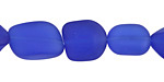 Royal Blue Recycled Glass Irregular Nugget 11-17x10-13mm