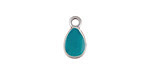 Zola Elements Turquoise Enamel Antique Silver (plated) Teardrop Charm 8x14mm