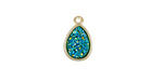 Metallic Green Turquoise Crystal Druzy Teardrop Charm in Gold Finish Bezel 9x14mm