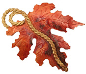 Patricia Healey Copper Leaf w/ Vine Pendant 50x68mm