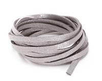 Silver Metallic Microsuede Flat Cord 5mm