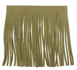 Olive Leather Tassel Fringe 5 inch square