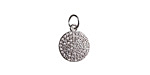 Clear Pave CZ Stainless Steel Coin Charm 10.5x16mm