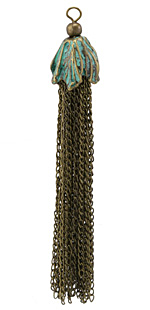 Zola Elements Patina Green Brass Chain Tassel w/ Flower Cap 14x100mm