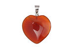 Carnelian Heart Pendant w/ Silver (plated) Bail 20mm