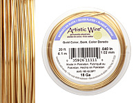 Artistic Wire Silver Plated Gold 18 gauge, 20 feet