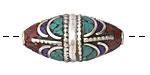 Tibetan White Brass Rice Bead w/ Coral, Turquoise & Lapis Mosaic Draping 31-33x16mm