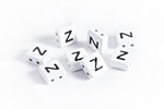 "White Enamel 2-Hole Tile Square Bead w/ Letter ""Z"" 8mm"