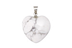 White Howlite Heart Pendant w/ Silver (plated) Bail 20mm