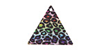 Rainbow Leopard Etched & Printed Gold Finish Triangle Focal 22x19mm