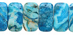 Larimar Blue Crazy Lace Agate 2-Hole Rounded Rectangle 10x20mm