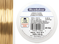 German Style Wire Non Tarnish Brass Half Round 20 gauge, 48 meters