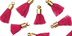 Berry w/ Gold (plated) Bead Cap Tiny Thread Tassel 14mm