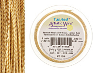 Twisted Artistic Wire Tarnish Resistant Brass 20 gauge, 8 yards