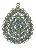 Zola Elements Patina Green Brass Filigree Teardrop Pendant 58x45mm