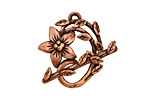 Antique Copper (plated) Flower & Vine Toggle Clasp 27x23mm, 28mm bar