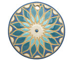Golem Studio Iris Sunburst Carved Ceramic Circle Pendant 39mm