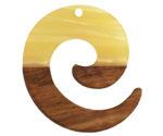 Walnut Wood & Butter Pearlescent Resin Koru Focal 36x37mm